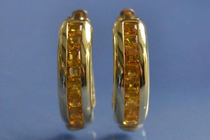 Boucles d'oreilles saphirs jaunes sur or jaune