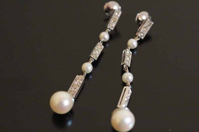 boucles d'oreilles 1930 perles et diamants su or