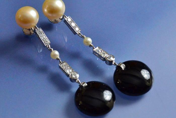 boucles d'oreilles onyx, perles et diamants