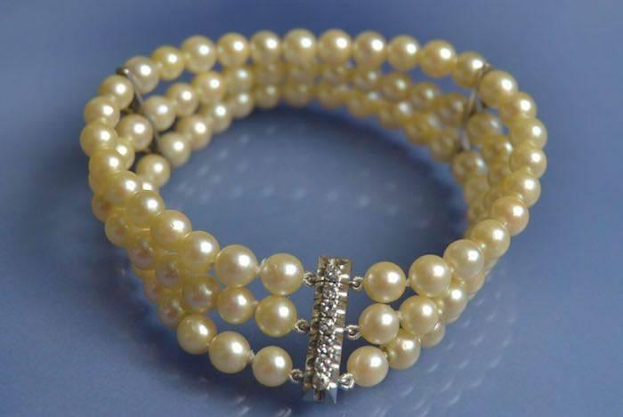 Bracelet perles culture, or et diamants