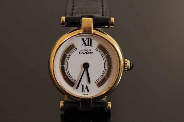 Montre Cartier vermeil et cuir croco
