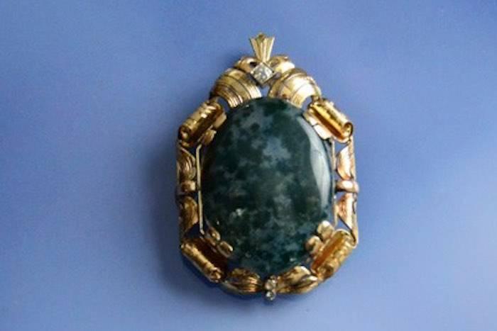 Pendentif / Broche agate mousse et diamants