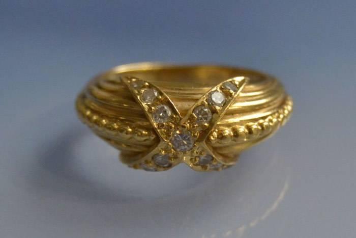 Bague diamants motif étoile en or 18k