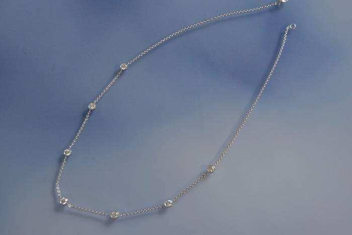 Chaine or blanc et diamants