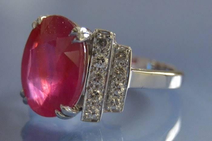 Bague rubis diamants d'occasion