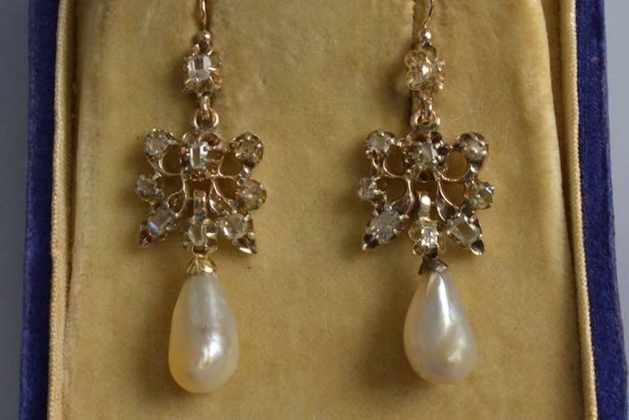 boucles d'oreilles XIXème perles et diamants