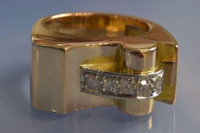 Bague Tank sertie de diamants taille ancienne