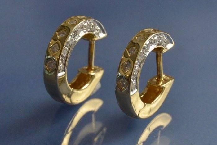 Créoles en or jaune 18k et diamants
