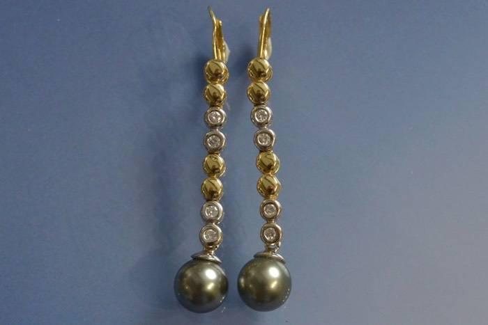 Boucles d'oreilles en or, perles de Tahiti et diamants