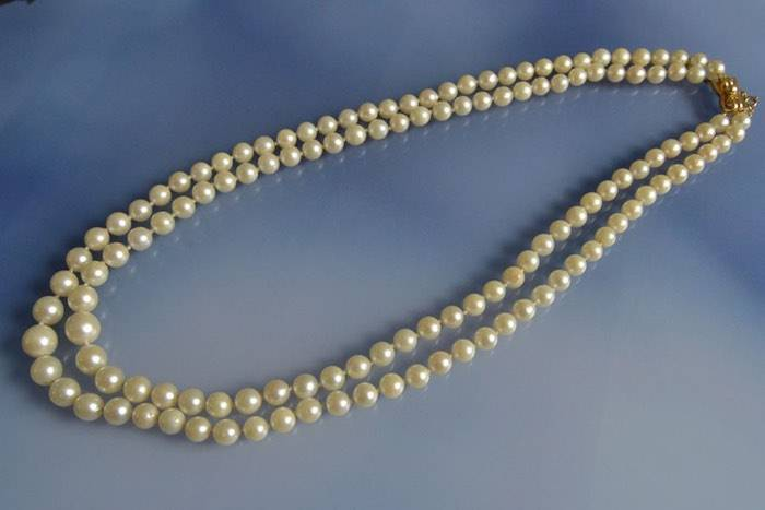 Collier perles 1940 et fermoir en or