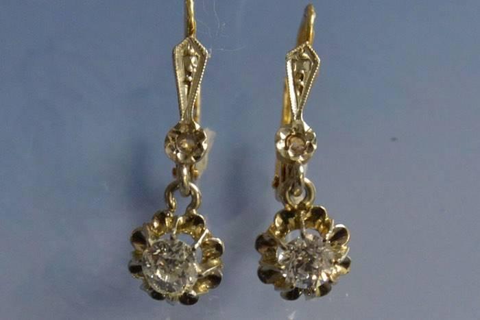 boucles d'oreilles Art Nouveau deux ors et diamants