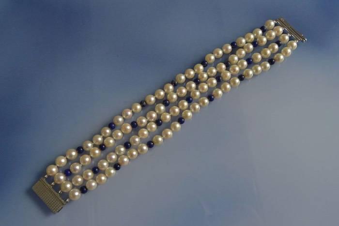Bracelet ancien perles de culture, lapis lazuli et fermoir en or blanc 18k