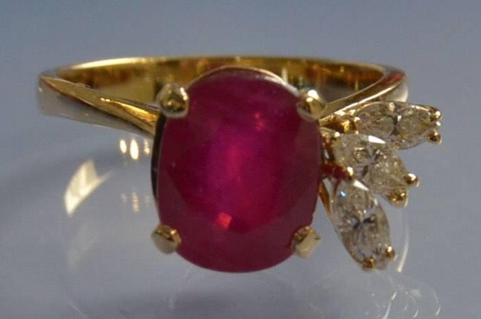 Bague rubis et diamants navettes