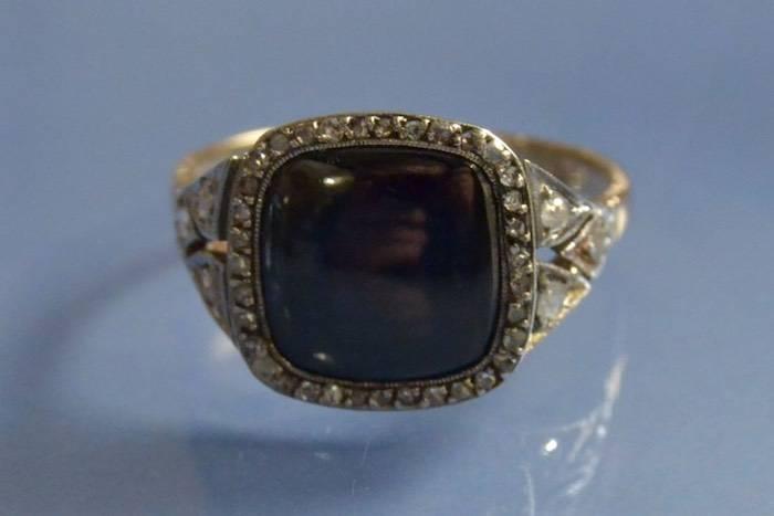 Bague 1900 saphir synthétique et diamants