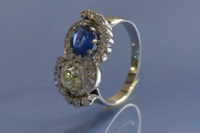 Bague 1930 diamants et saphir