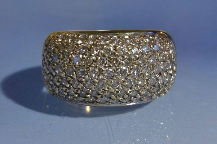 Bague diamants, anneau or jaune