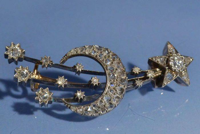 Broche ancienne constellation diamants en or 18k et argent