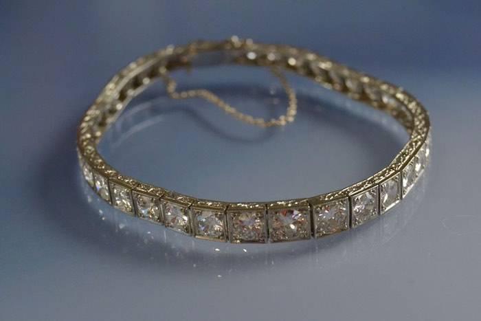 Bracelet ligne de diamants Art Déco