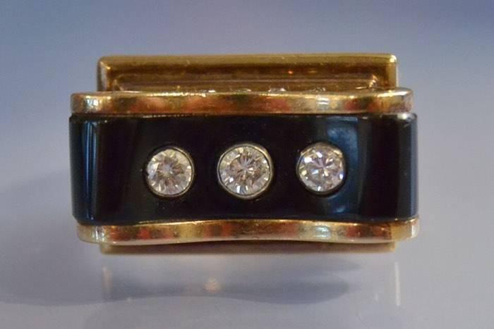 Bague 1940 diamants et onyx