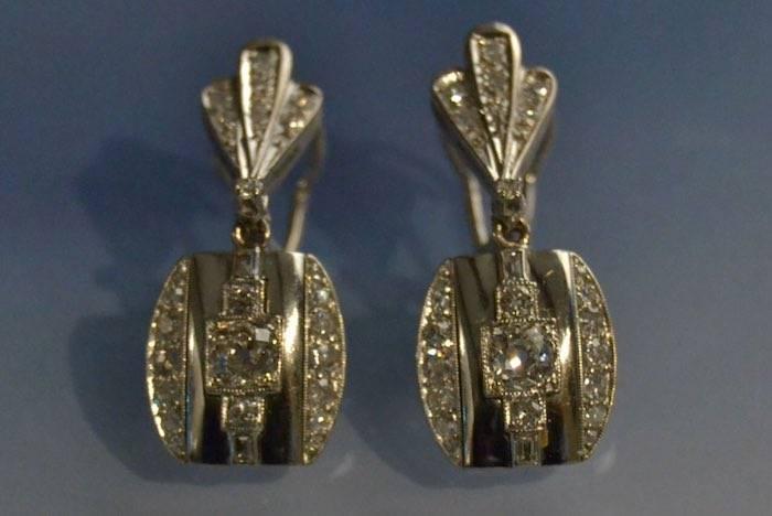 Boucles d'oreilles Art Déco argent et platine
