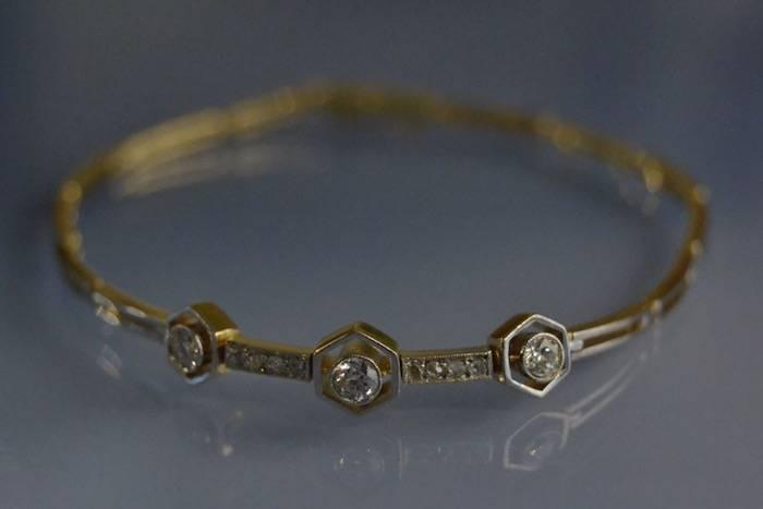 Bracelet ancien Art Déco deux ors et diamants