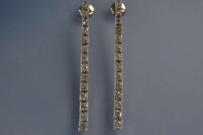 Boucles d'oreilles ligne de diamants Art Déco