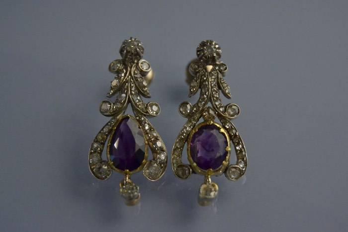 Boucles d'oreilles XIXème améthystes et diamants