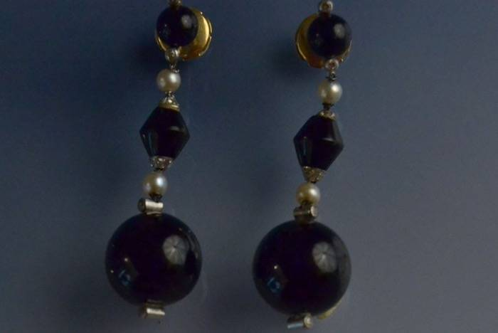 Boucles d'oreilles platine onyx, perles et diamants