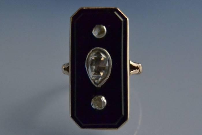 Bague ancienne onyx et diamants taille rose