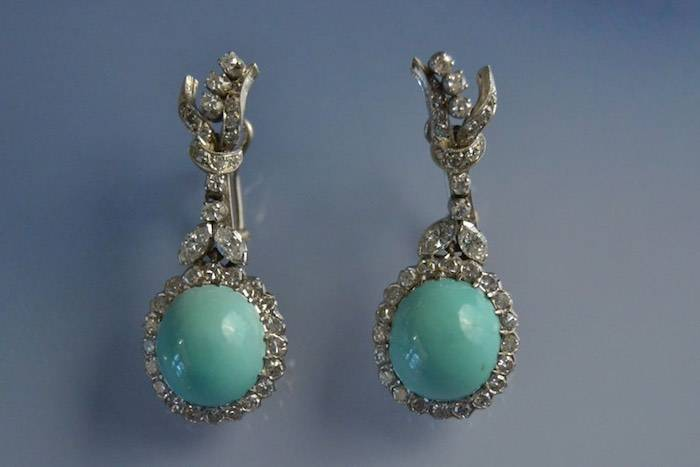 boucles d'oreilles 1950 turquoises et diamants