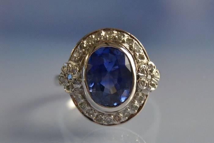Bague 1930 saphir et diamant
