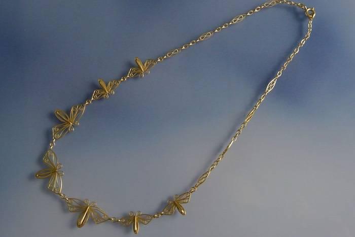 Collier draperie libellules en or