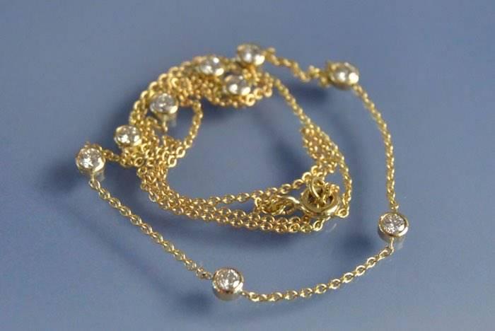 Collier diamants en sertis clos sur or jaune