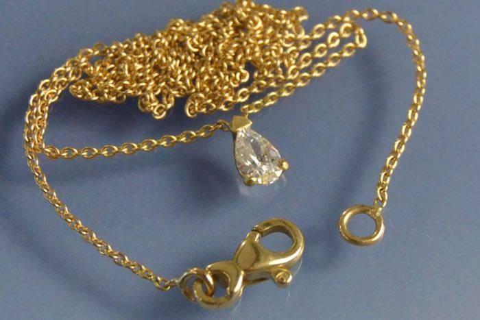 Chaîne pendentif diamant poire