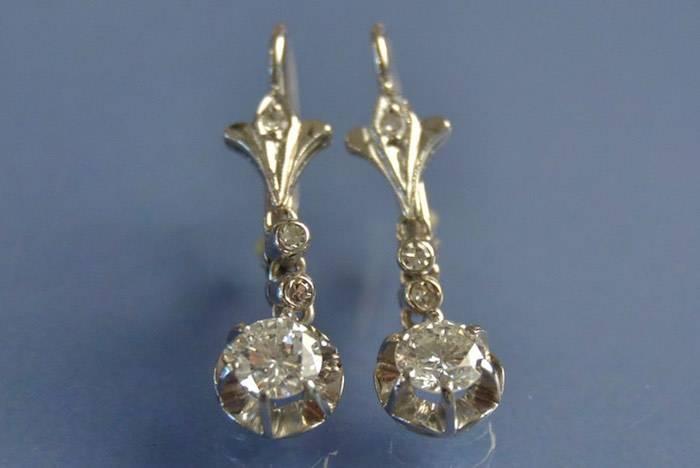 Boucles d'oreilles Art Nouveau diamants