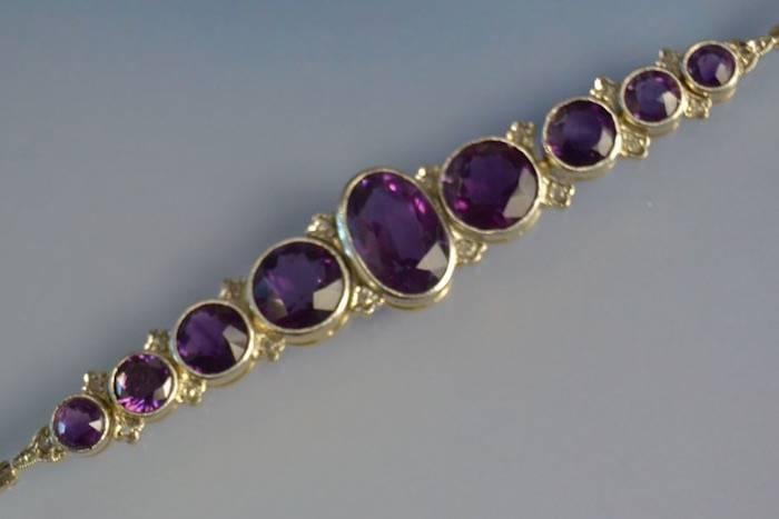 Bracelet améthystes et diamants