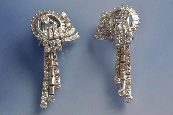 Boucles d'oreilles Art Déco or et diamants-pampilles escamotables