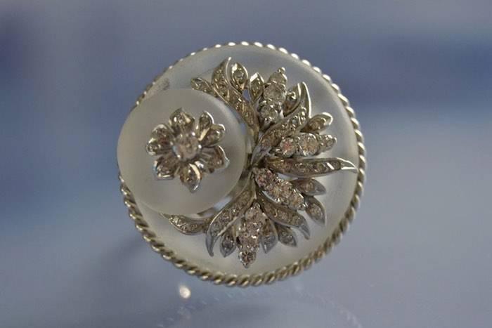 Bague ancienne cristal de roche diamants