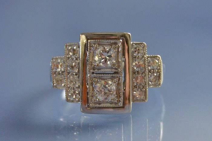 Bague de style Art déco diamants