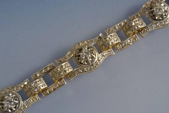 Bracelet Art Déco deux ors et roses de diamants