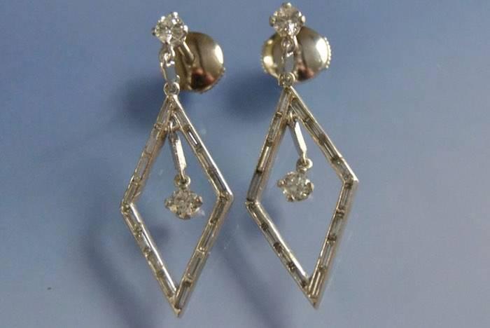 Boucles d'oreilles losanges or et diamants