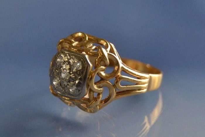 Bague style années 50 or et diamants