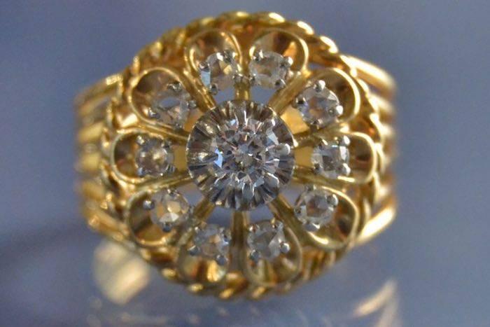 Bague des années 50 sertie de diamants