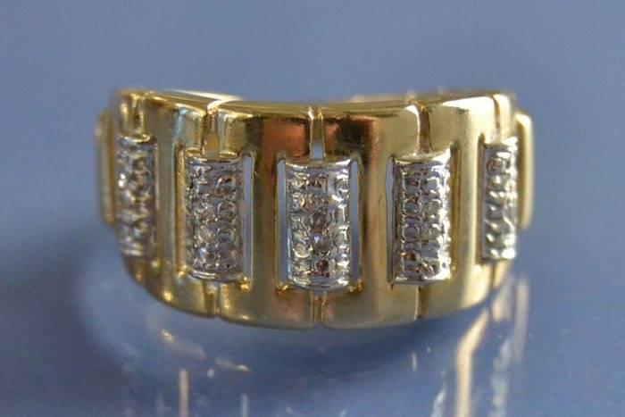 Bague or jaune et blanc et diamants