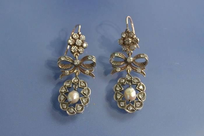 Boucles d'oreilles XIXéme or et argent