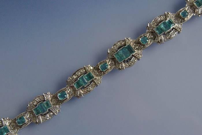 Bracelet Art Déco émeraudes or et diamants