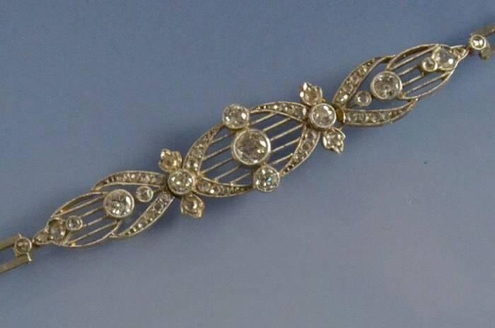 Bracelet Art Déco or, platine et diamants