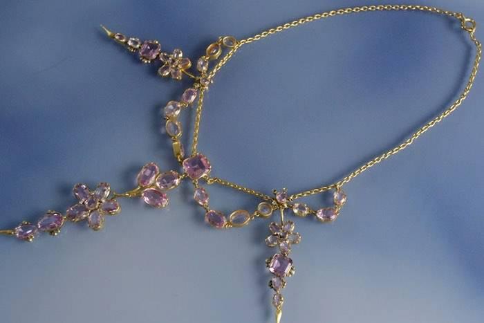 Collier Art Nouveau topazes roses et diamants