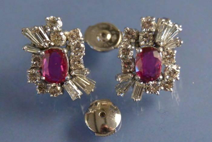 Boucles d'oreilles rubis, diamants Art Déco