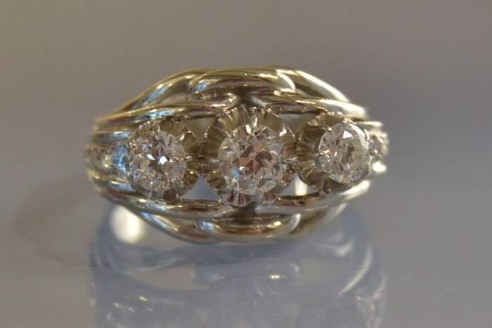 Bague Art déco trilogie diamants